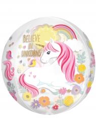 Ballon transparent rond licorne 38 x 40 cm