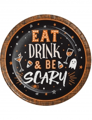8 Petites assiettes en carton Eat, Drink and Be Scary 18 cm
