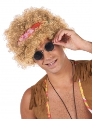 Perruque afro hippie blonde adulte