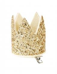 Mini couronne dorée pailletée avec pince
