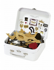 Valise Photobooth pailleté 15 accessoires