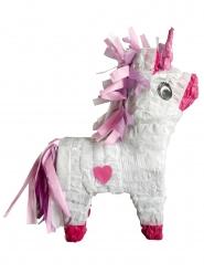 Piñata Licorne blanche et rose avec bâton 46 cm