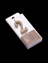 Bougie d'anniversaire chiffre 2 doré métallisé 4,3 cm