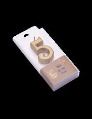 Bougie d'anniversaire chiffre 5 doré métallisé 4,3 cm