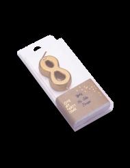 Bougie d'anniversaire chiffre 8 doré métallisé 4,3 cm