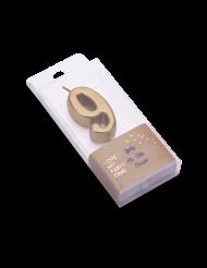 Bougie d'anniversaire chiffre 9 doré métallisé 4,3 cm
