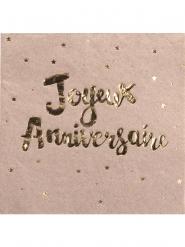 16 Serviettes en papier Joyeux Anniversaire kraft doré 33 x 33 cm