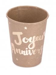 8 Gobelets en carton Joyeux Anniversaire kraft doré 200 ml