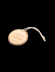 4 Rondins en bois Joyeux Anniversaire avec liens ficelle 4 cm
