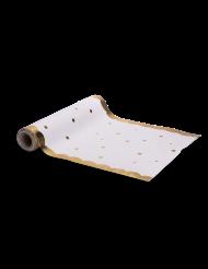 Chemin de table en lin pois et festons dorés 28 cm x 5 m