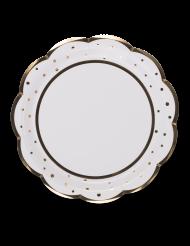 8 Assiettes en carton à pois et feston doré 23 cm
