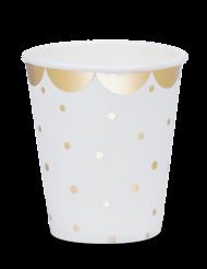 8 Gobelets en carton à pois et feston doré 200 ml