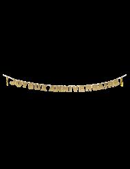 Guirlande à tassels Joyeux Anniversaire pailletée dorée 4 m