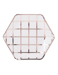 8 Assiettes en carton hexagonales à carreaux rose gold 23 cm