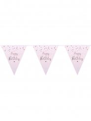 Guirlande fanions Happy Birthday confettis rose gold 3 m