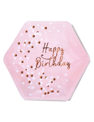 8 Assiettes en carton Happy Birthday confettis rose gold 23 cm