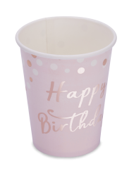 8 Gobelets en carton Happy Birthday confettis rose gold 255 ml