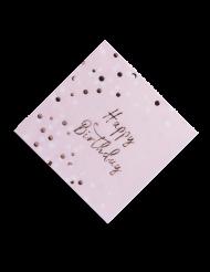 16 Serviettes en papier Happy Birthday confettis rose gold 33 x 33 cm