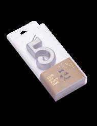 Bougie d'anniversaire chiffre 5 argenté métallisé 4,3 cm