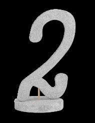 Centre de table chiffre 2 bois pailleté argenté 20 cm