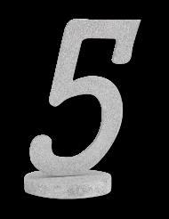 Centre de table chiffre 5 bois pailleté argenté 20 cm