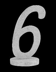 Centre de table chiffre 6 bois pailleté argenté 20 cm