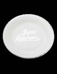 12 Assiettes en carton Joyeux Anniversaire blanc et argent 23 cm