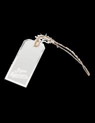 12 Étiquettes en carton Joyeux Anniversaire blanc et argenté 4 x 8 cm