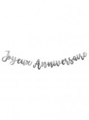 Guirlande en carton Joyeux Anniversaire argenté 1,80 m