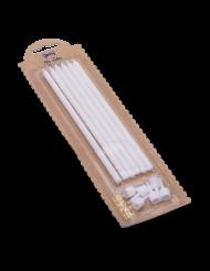 6 Grandes bougies avec bobèches blanc pailleté 14 cm