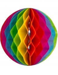 3 Boules en papier alvéolées arc en ciel 15, 20 et 25 cm