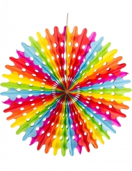 3 Eventails en papier arc en ciel 20, 30 et 40 cm