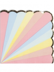 16 Serviettes en papier Berlingot pastel et dorure 33 x 33 cm