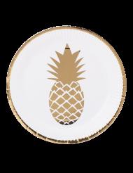 8 Assiettes en carton Ananas blanc et or 23 cm