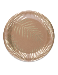 8 Assiettes en carton kraft Palmier doré 23 cm
