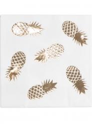 16 Serviettes en papier Ananas blanc et doré 33 x 33 cm
