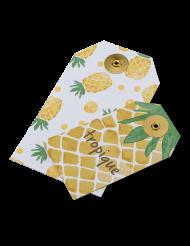 10 Etiquettes en carton Ananas et Tropique 13 x 7,5 et 9,5 x 5,5 cm