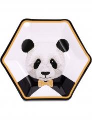 8 Assiettes en carton Panda trop mignon blanches 23 cm