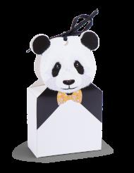 8 Contenants Panda avec ruban satin noir 11,5 x 6,5 x 3 cm