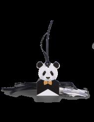 8 Etiquettes en carton Panda avec liens satin noir 6 x 4 cm