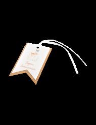 8 Etiquettes en carton Biche avec ruban satin 7,50 x 5 cm