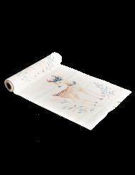 Chemin de table en lin Jolie Biche blanc 5 m