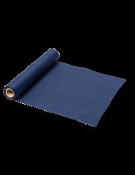 Chemin de table en lin bleu marine 28 cm x 5 m