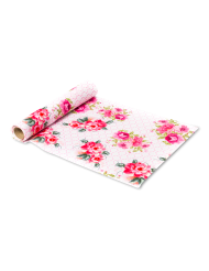 Chemin de table en tissu Tea Time rose et blanc 28 cm x 5 m