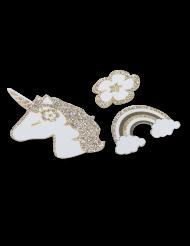 100 Confettis de table Licorne doré pailleté 5 x 4 cm