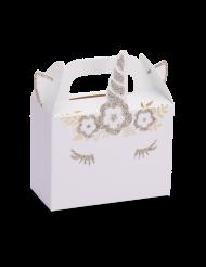 8 Contenants en carton Licorne champagne pailleté 9,5 x 8 x 4 cm