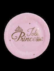 8 Assiettes en carton Princesse rose et or 23 cm