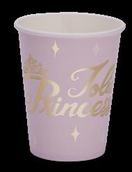 8 Gobelets en carton Princesse rose et or 255 ml