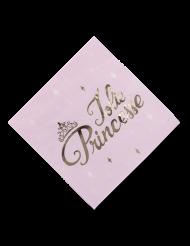 16 Serviettes en papier Princesse rose et or 33 x 33 cm