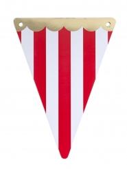 Guirlande 5 fanions Circus rouge festons dorés 15 x 21 cm